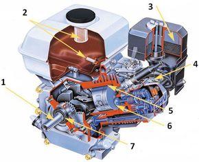 Двигатель в разрезе 168F, GX160